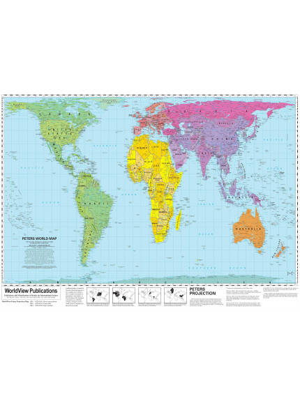 WorldView Peters Map - LAMINATED