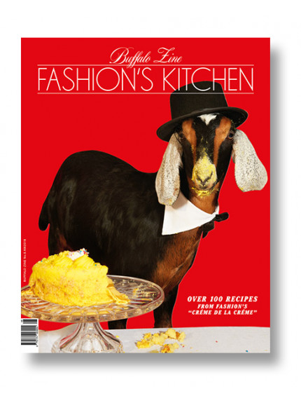 Buffalo Zine 8 fashion's Kitchen: Biscuit wears his own hat, bow tie and collar (goat gets to eat yellow cake)